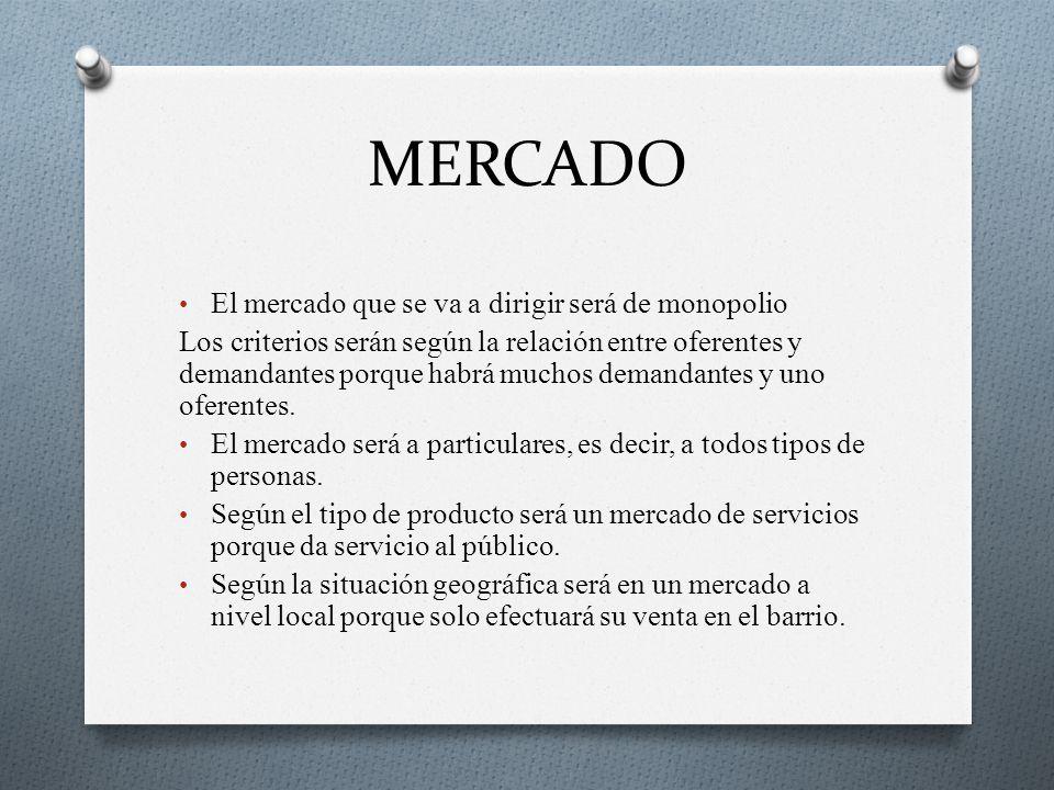MERCADO El mercado que se va a dirigir será de monopolio Los criterios serán según la relación entre oferentes y demandantes porque habrá muchos deman