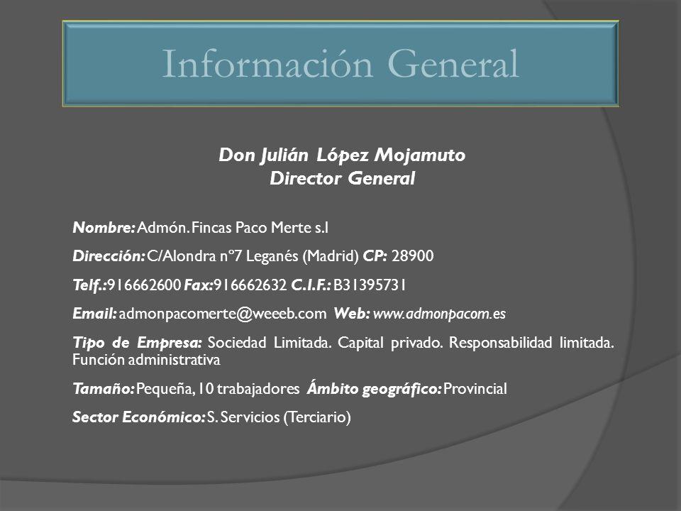 Don Julián López Mojamuto Director General Nombre: Admón. Fincas Paco Merte s.l Dirección: C/Alondra nº7 Leganés (Madrid) CP: 28900 Telf.:916662600 Fa