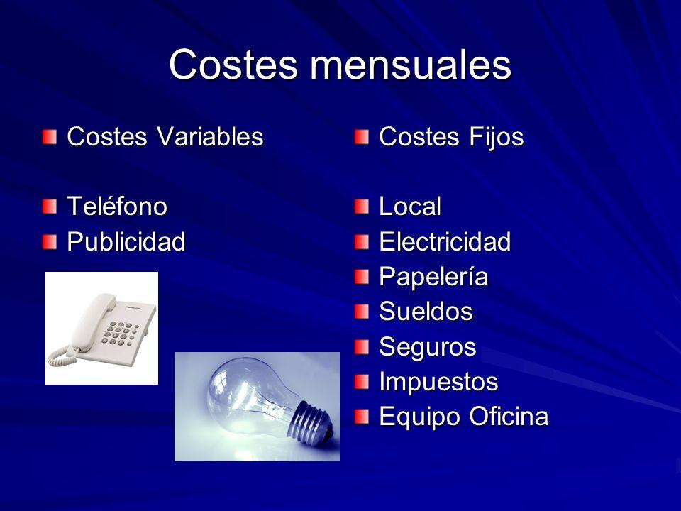 Costes mensuales Costes Variables TeléfonoPublicidad Costes Fijos LocalElectricidadPapeleríaSueldosSegurosImpuestos Equipo Oficina