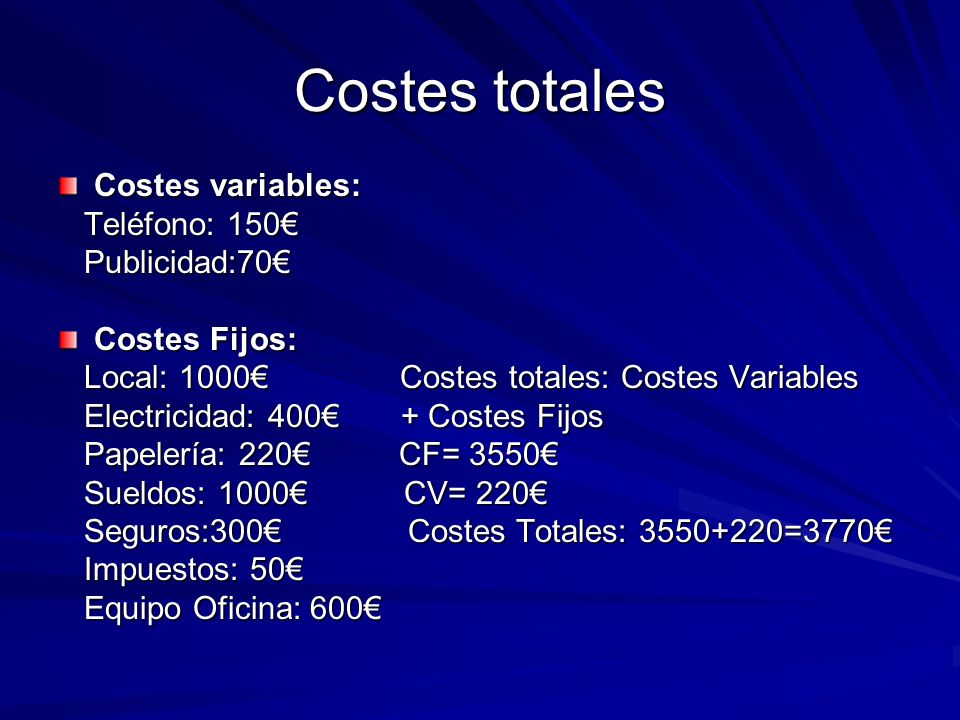 Costes totales Costes variables: Teléfono: 150 Teléfono: 150 Publicidad:70 Publicidad:70 Costes Fijos: Local: 1000 Costes totales: Costes Variables Lo