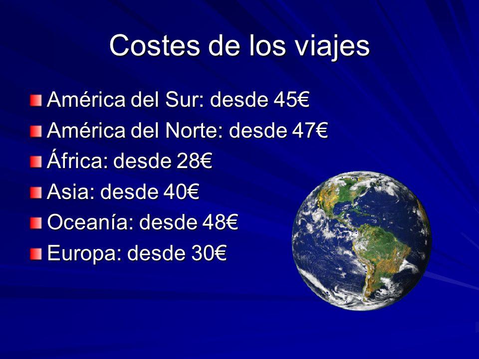 Costes de los viajes América del Sur: desde 45 América del Norte: desde 47 África: desde 28 Asia: desde 40 Oceanía: desde 48 Europa: desde 30