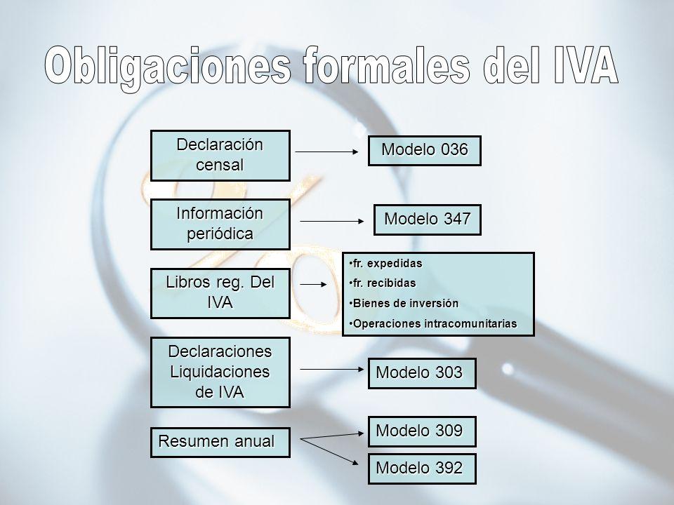 Declaración censal Información periódica Libros reg. Del IVA Declaraciones Liquidaciones de IVA Resumen anual Modelo 036 Modelo 347 Modelo 309 Modelo