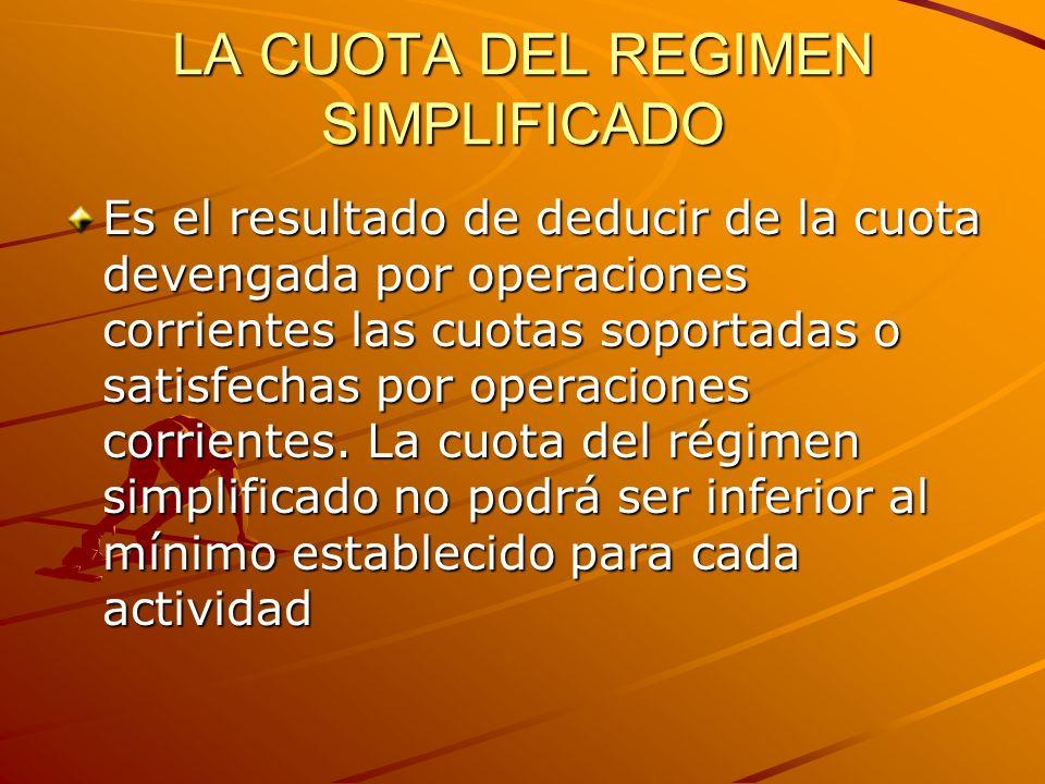 LA CUOTA DEL REGIMEN SIMPLIFICADO Es el resultado de deducir de la cuota devengada por operaciones corrientes las cuotas soportadas o satisfechas por