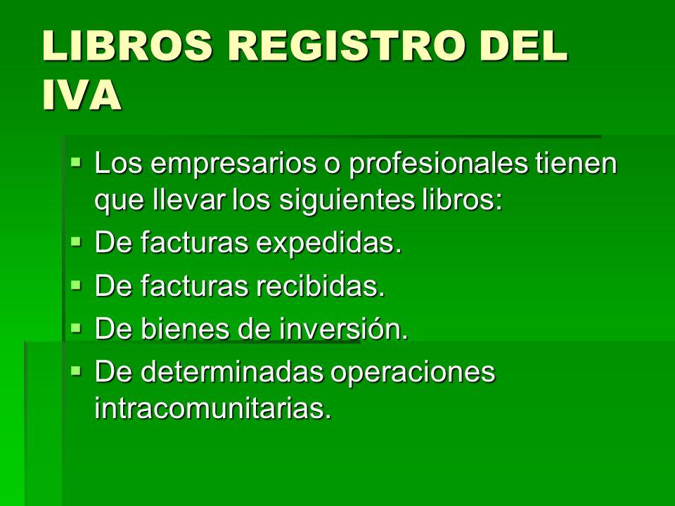 LIBROS REGISTRO DEL IVA Los empresarios o profesionales tienen que llevar los siguientes libros: Los empresarios o profesionales tienen que llevar los