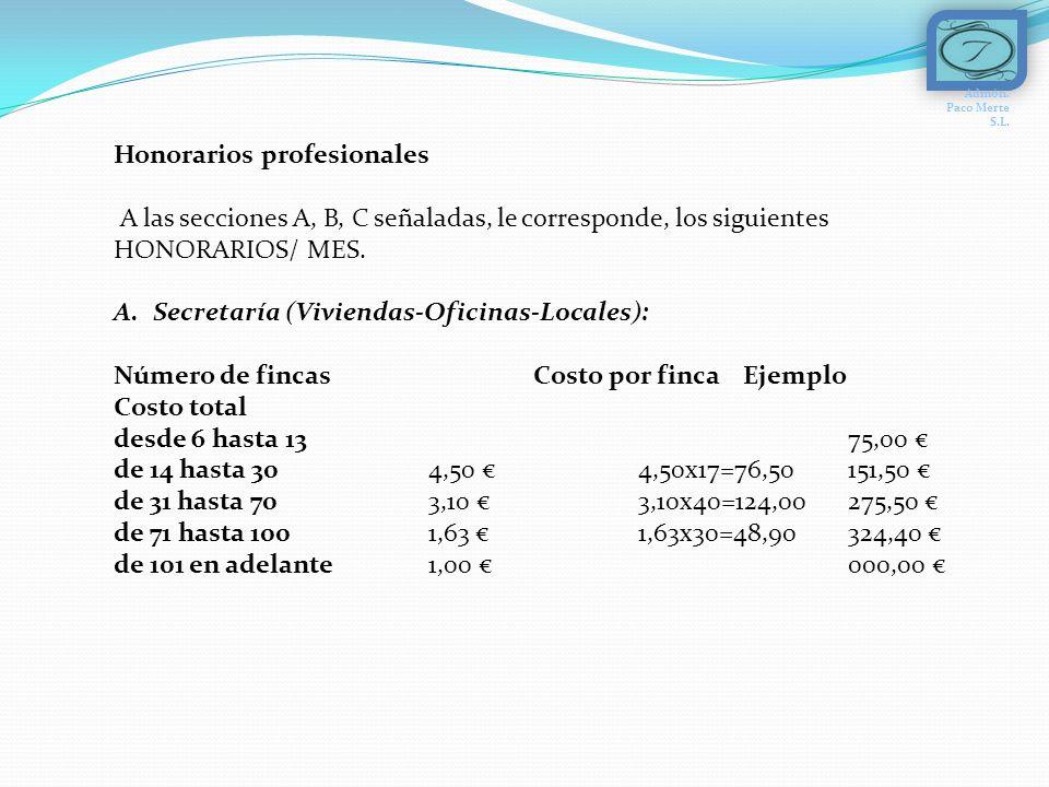 Honorarios profesionales A las secciones A, B, C señaladas, le corresponde, los siguientes HONORARIOS/ MES.
