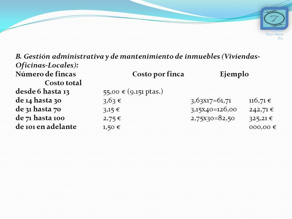 B. Gestión administrativa y de mantenimiento de inmuebles (Viviendas- Oficinas-Locales): Número de fincas Costo por finca Ejemplo Costo total desde 6