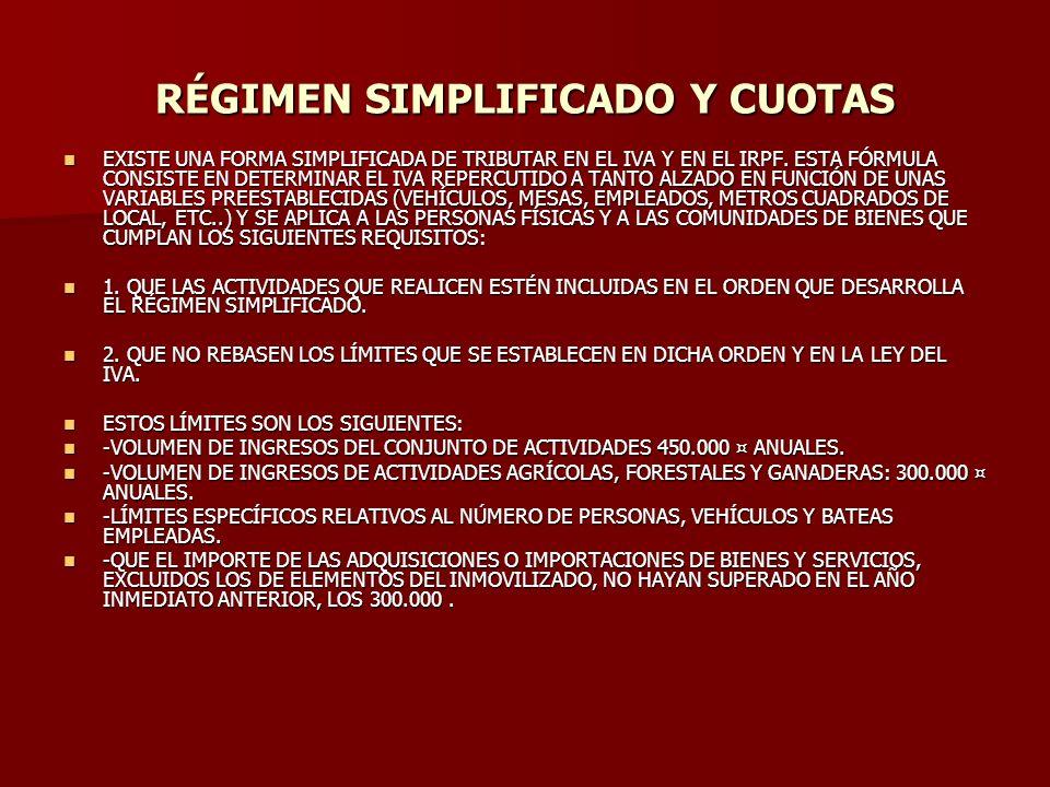 RÉGIMEN SIMPLIFICADO Y CUOTAS EXISTE UNA FORMA SIMPLIFICADA DE TRIBUTAR EN EL IVA Y EN EL IRPF. ESTA FÓRMULA CONSISTE EN DETERMINAR EL IVA REPERCUTIDO