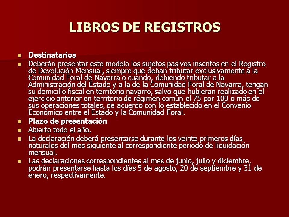 LIBROS DE REGISTROS Destinatarios Destinatarios Deberán presentar este modelo los sujetos pasivos inscritos en el Registro de Devolución Mensual, siem