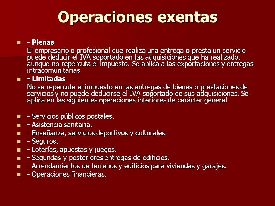 Operaciones exentas - Plenas - Plenas El empresario o profesional que realiza una entrega o presta un servicio puede deducir el IVA soportado en las a