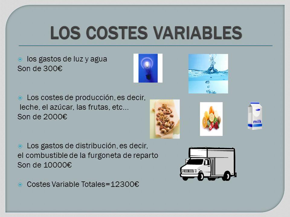 los gastos de luz y agua Son de 300 Los costes de producción, es decir, leche, el azúcar, las frutas, etc...