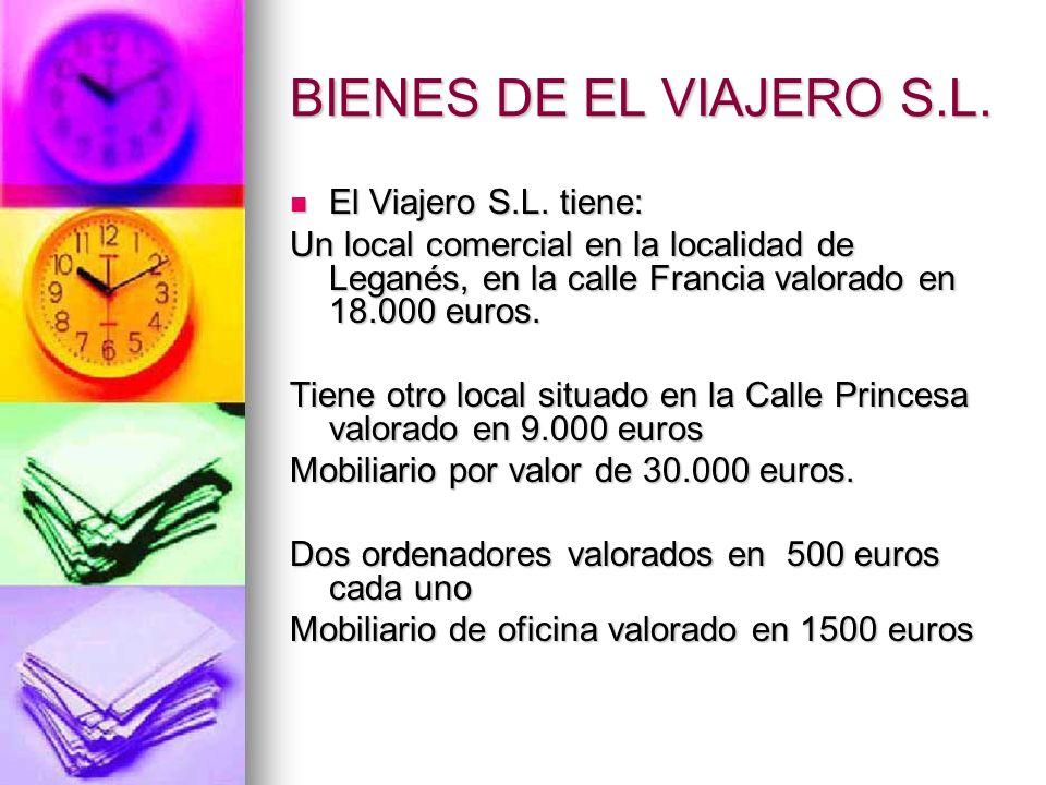 BIENES DE EL VIAJERO S.L. El Viajero S.L. tiene: El Viajero S.L. tiene: Un local comercial en la localidad de Leganés, en la calle Francia valorado en