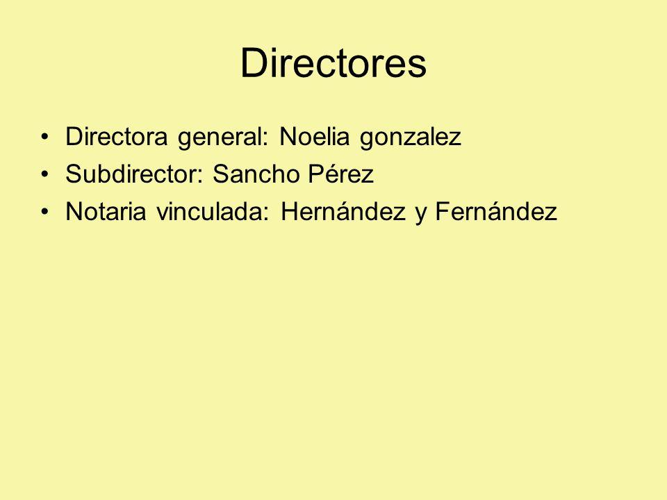 Directores Directora general: Noelia gonzalez Subdirector: Sancho Pérez Notaria vinculada: Hernández y Fernández