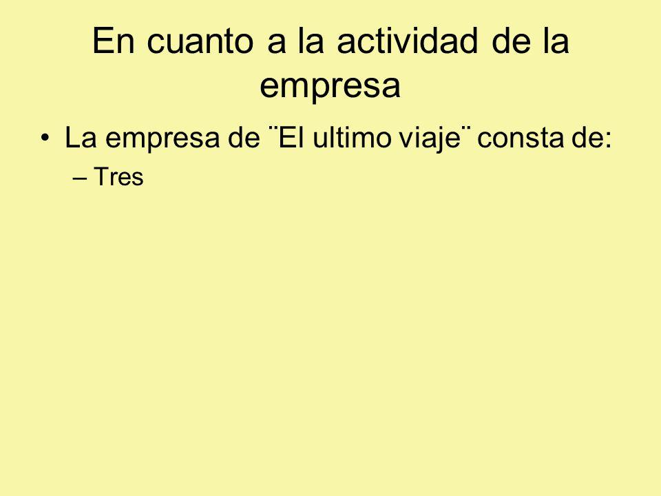 En cuanto a la actividad de la empresa La empresa de ¨El ultimo viaje¨ consta de: –Tres
