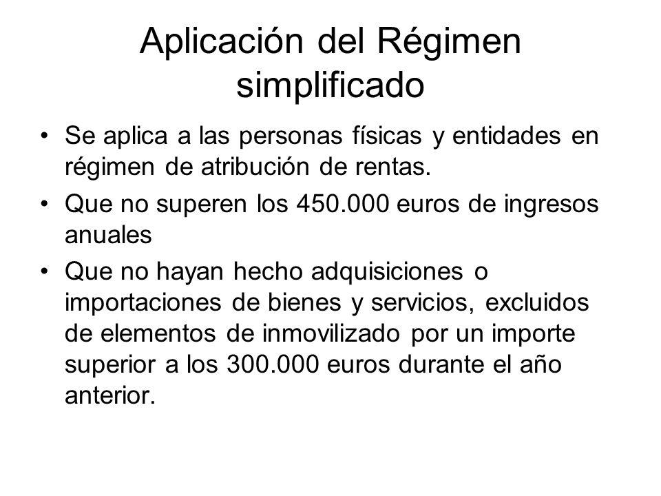 Aplicación del Régimen simplificado Se aplica a las personas físicas y entidades en régimen de atribución de rentas. Que no superen los 450.000 euros