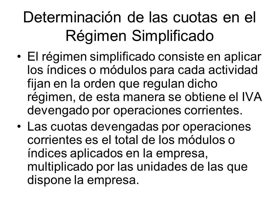 Determinación de las cuotas en el Régimen Simplificado El régimen simplificado consiste en aplicar los índices o módulos para cada actividad fijan en
