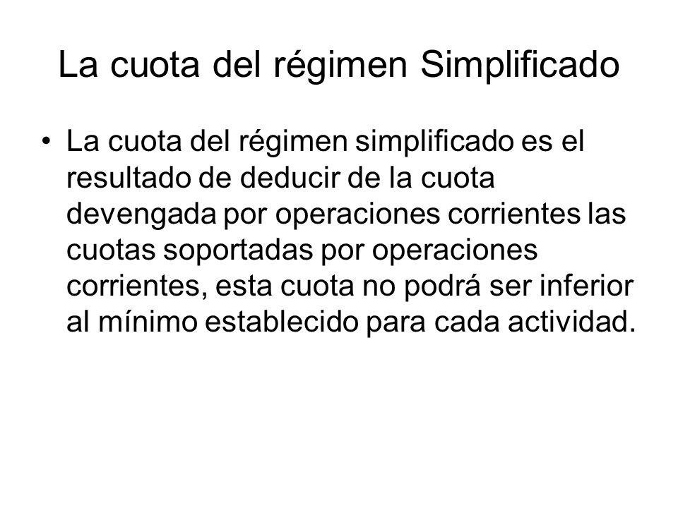 La cuota del régimen Simplificado La cuota del régimen simplificado es el resultado de deducir de la cuota devengada por operaciones corrientes las cu
