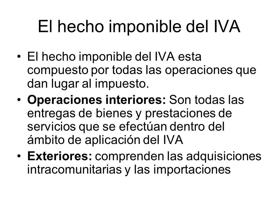 El hecho imponible del IVA El hecho imponible del IVA esta compuesto por todas las operaciones que dan lugar al impuesto. Operaciones interiores: Son