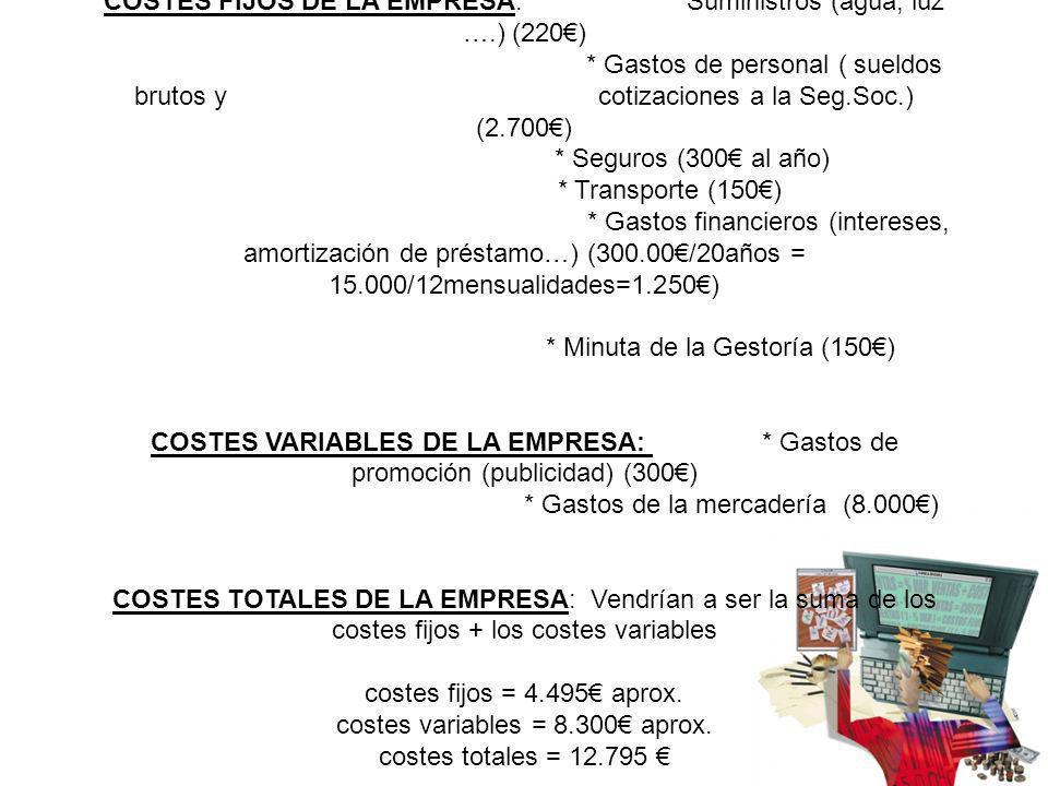 COSTES FIJOS DE LA EMPRESA: * Suministros (agua, luz ….) (220) * Gastos de personal ( sueldos brutos y cotizaciones a la Seg.Soc.) (2.700) * Seguros (