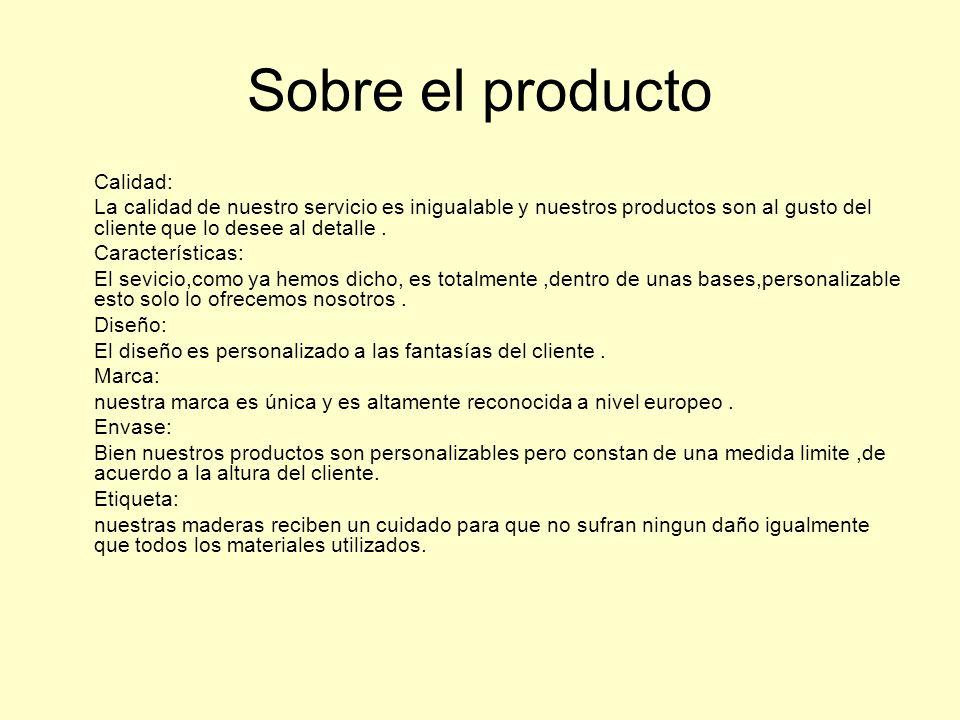 Sobre el producto Calidad: La calidad de nuestro servicio es inigualable y nuestros productos son al gusto del cliente que lo desee al detalle. Caract