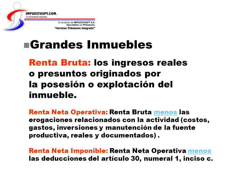 Grandes Inmuebles Renta Bruta: los ingresos reales o presuntos originados por la posesión o explotación del inmueble. Renta Neta Operativa: Renta Brut