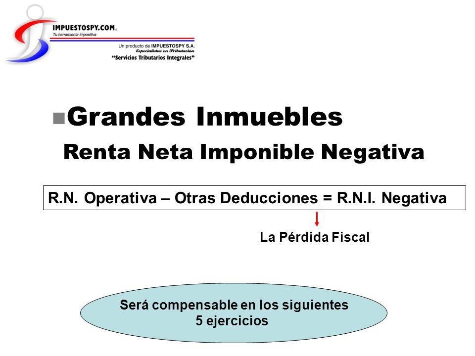 Grandes Inmuebles Renta Neta Imponible Negativa R.N. Operativa – Otras Deducciones = R.N.I. Negativa La Pérdida Fiscal Será compensable en los siguien