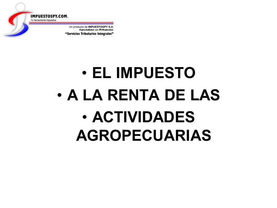 Ejemplos de liquidación Finca de 500 hectáreas – Hernandarias, AP Cuarto Paso: Renta Imponible RENTA IMPONIBLELEY 125 Renta Bruta (350 has x valor fiscal x 12%) 6.108.312 Gs Gastos (40% s/ RB)(2.443.325) Gs IVA compras (hasta 30% s/ RB)(1.832.494) Gs Renta Imponible Ley 1251.832.493 Gs Medianos Inmuebles