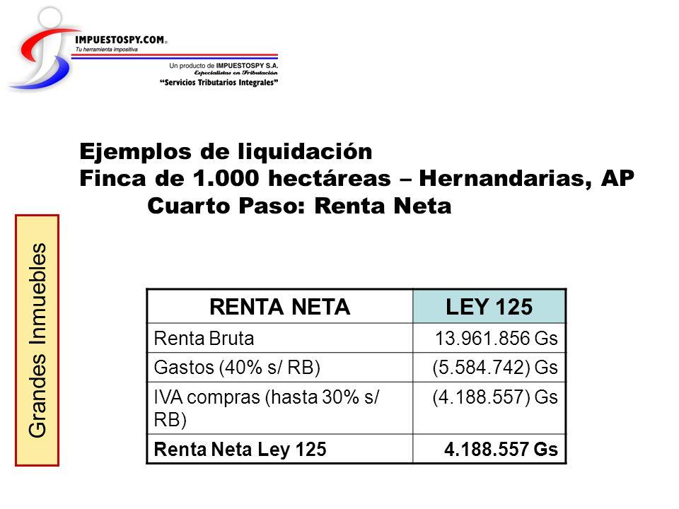 Ejemplos de liquidación Finca de 1.000 hectáreas – Hernandarias, AP Cuarto Paso: Renta Neta Grandes Inmuebles RENTA NETALEY 125 Renta Bruta13.961.856