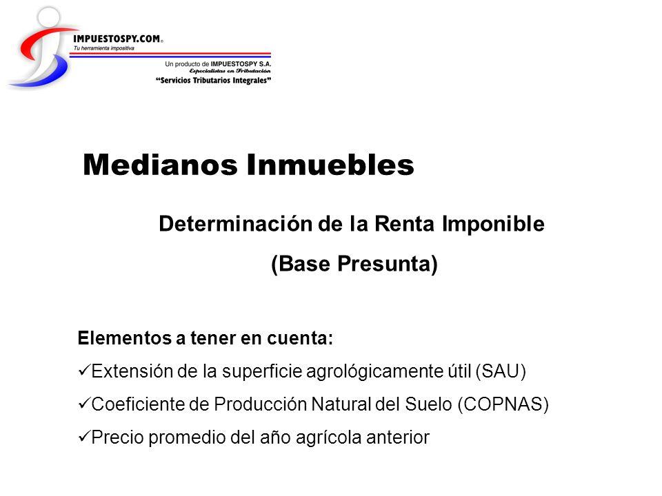 Medianos Inmuebles Determinación de la Renta Imponible (Base Presunta) Elementos a tener en cuenta: Extensión de la superficie agrológicamente útil (S