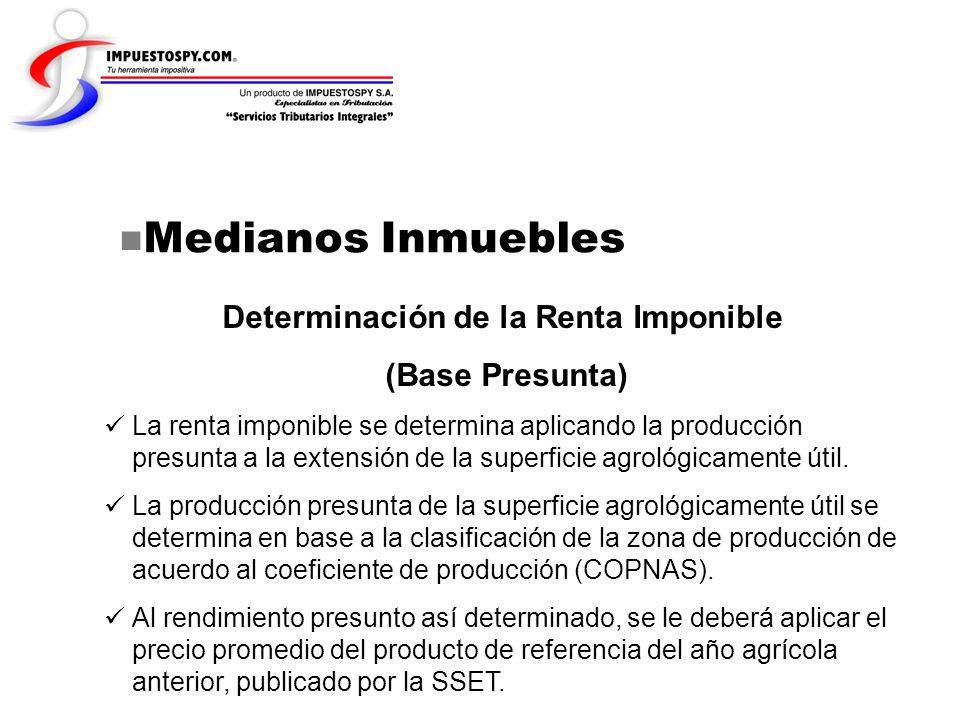Medianos Inmuebles Determinación de la Renta Imponible (Base Presunta) La renta imponible se determina aplicando la producción presunta a la extensión