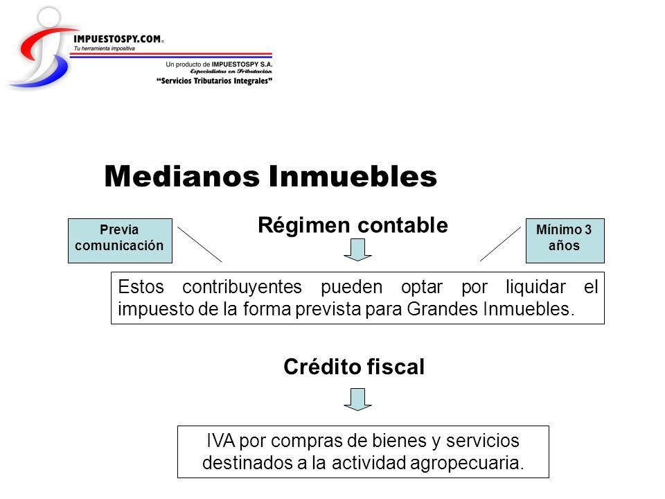 Medianos Inmuebles Régimen contable Estos contribuyentes pueden optar por liquidar el impuesto de la forma prevista para Grandes Inmuebles. Previa com