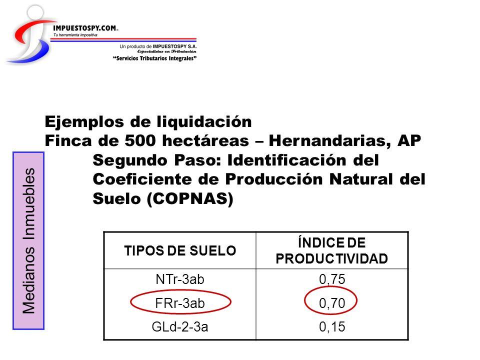 Ejemplos de liquidación Finca de 500 hectáreas – Hernandarias, AP Segundo Paso: Identificación del Coeficiente de Producción Natural del Suelo (COPNAS
