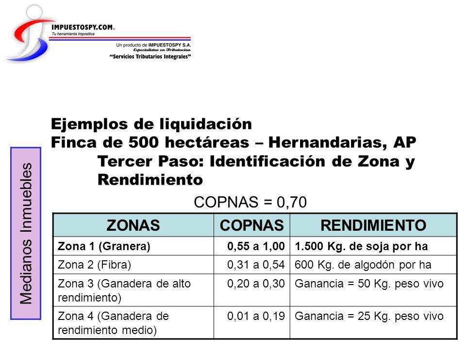 Ejemplos de liquidación Finca de 500 hectáreas – Hernandarias, AP Tercer Paso: Identificación de Zona y Rendimiento Medianos Inmuebles COPNAS = 0,70 Z