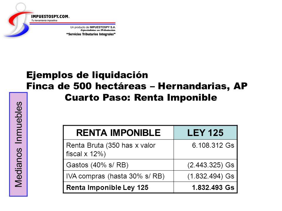 Ejemplos de liquidación Finca de 500 hectáreas – Hernandarias, AP Cuarto Paso: Renta Imponible RENTA IMPONIBLELEY 125 Renta Bruta (350 has x valor fis