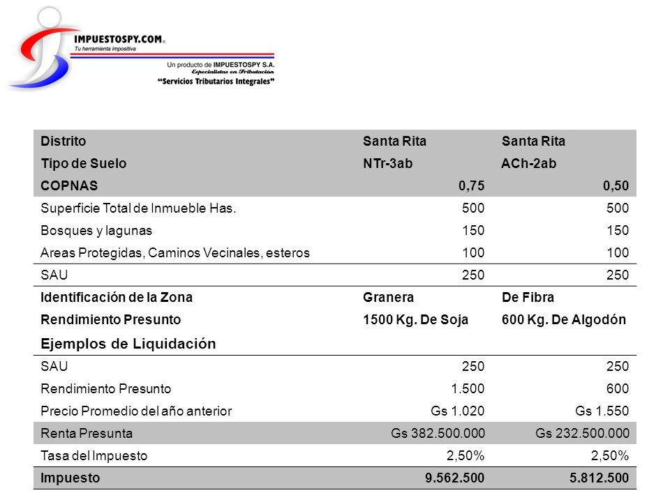 Distrito Santa Rita Tipo de Suelo NTr-3ab ACh-2ab COPNAS 0,75 0,50 Superficie Total de Inmueble Has. 500 Bosques y lagunas 150 Areas Protegidas, Camin