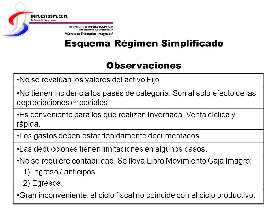 Esquema Régimen Simplificado Observaciones No se revalúan los valores del activo Fijo. No tienen incidencia los pases de categoría. Son al solo efecto