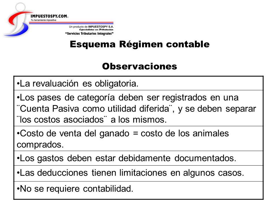 Esquema Régimen contable Observaciones La revaluación es obligatoria. Los pases de categoría deben ser registrados en una ¨Cuenta Pasiva como utilidad