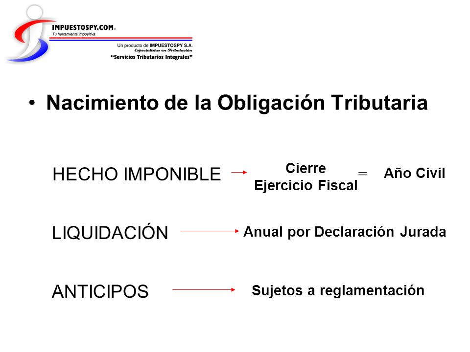 Nacimiento de la Obligación Tributaria HECHO IMPONIBLE Cierre Ejercicio Fiscal = LIQUIDACIÓN ANTICIPOS Sujetos a reglamentación Anual por Declaración