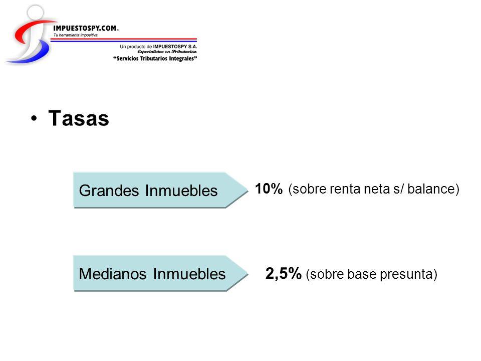 Tasas Grandes Inmuebles Medianos Inmuebles 2,5% (sobre base presunta) 10% (sobre renta neta s/ balance)