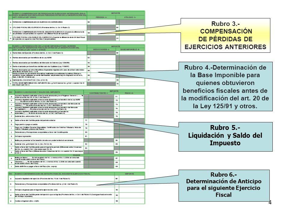 5 Rubro 7.-Información Patrimonial Rubro 8.- Información complementaria FIRMA DEL CONTRIBUYENTE RECEPCIÓN ERAs o D.G.G.C.