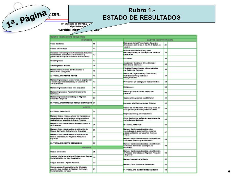 9 Rubro 2.- RESULTADO DEL EJERCICIO (Contable y Fiscal) 1ª. Página