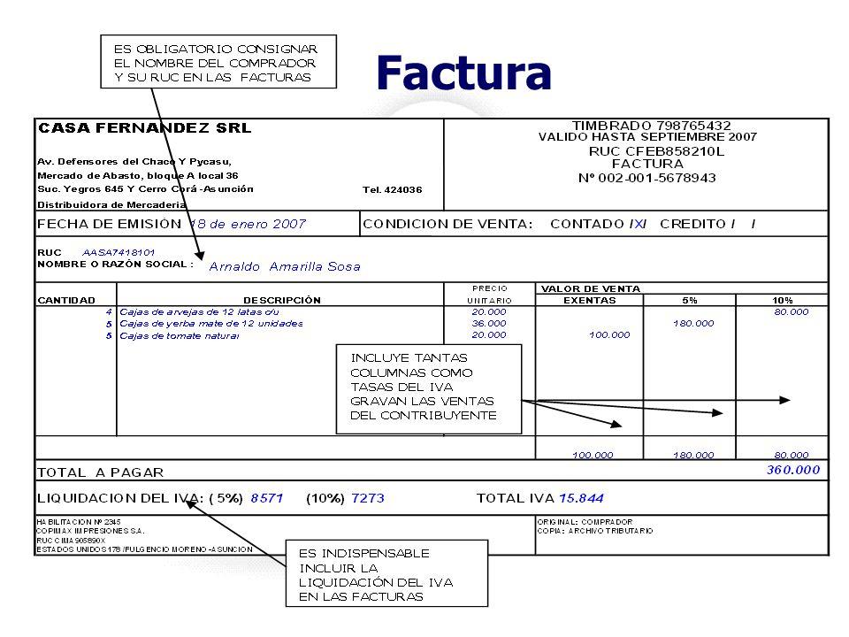 Facturas Es el único documento creado para sustentar el crédito fiscal del IVA Se deben utilizar exclusivamente en las transacciones realizadas entre