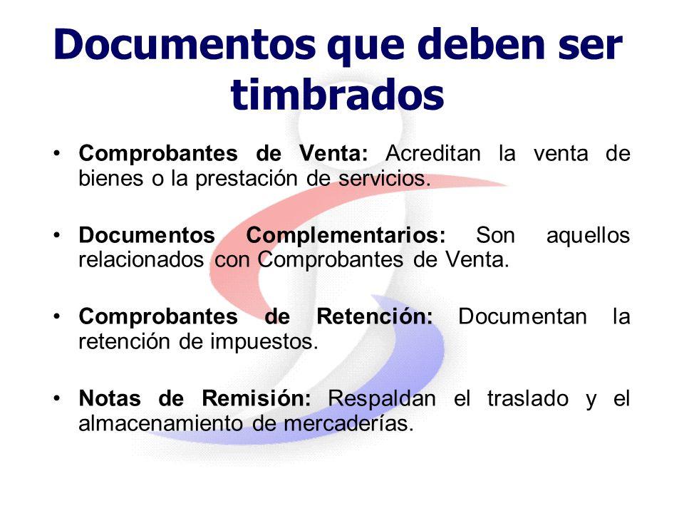 Timbrado de documentos Es la autorización otorgada por la Administración a los contribuyentes que cumplen con sus obligaciones tributarias, para la im
