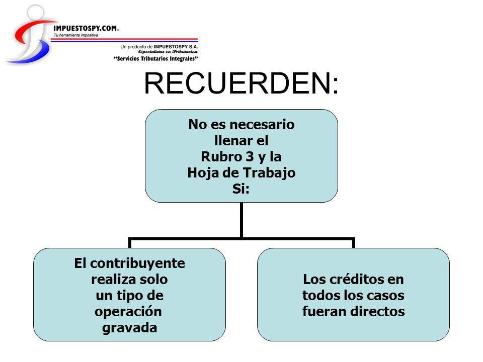 No es necesario llenar el Rubro 3 y la Hoja de Trabajo Si: El contribuyente realiza solo un tipo de operación gravada Los créditos en todos los casos