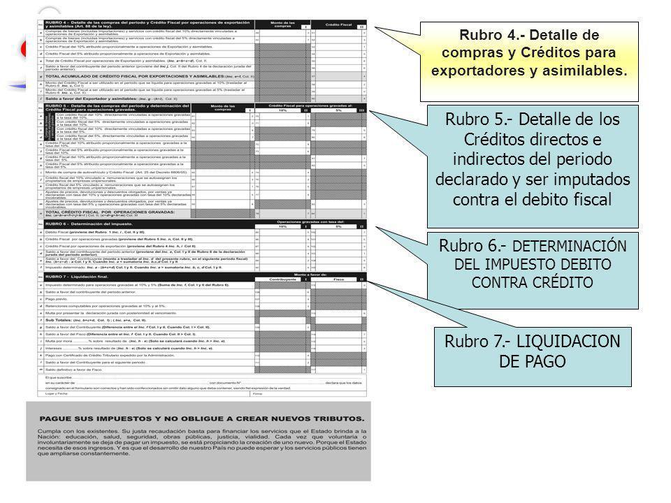 Rubro 4.- Detalle de compras y Créditos para exportadores y asimilables. Rubro 5.- Detalle de los Créditos directos e indirectos del periodo declarado