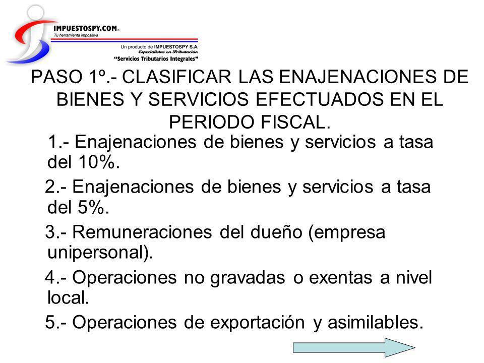 PASO 1º.- CLASIFICAR LAS ENAJENACIONES DE BIENES Y SERVICIOS EFECTUADOS EN EL PERIODO FISCAL. 1.- Enajenaciones de bienes y servicios a tasa del 10%.