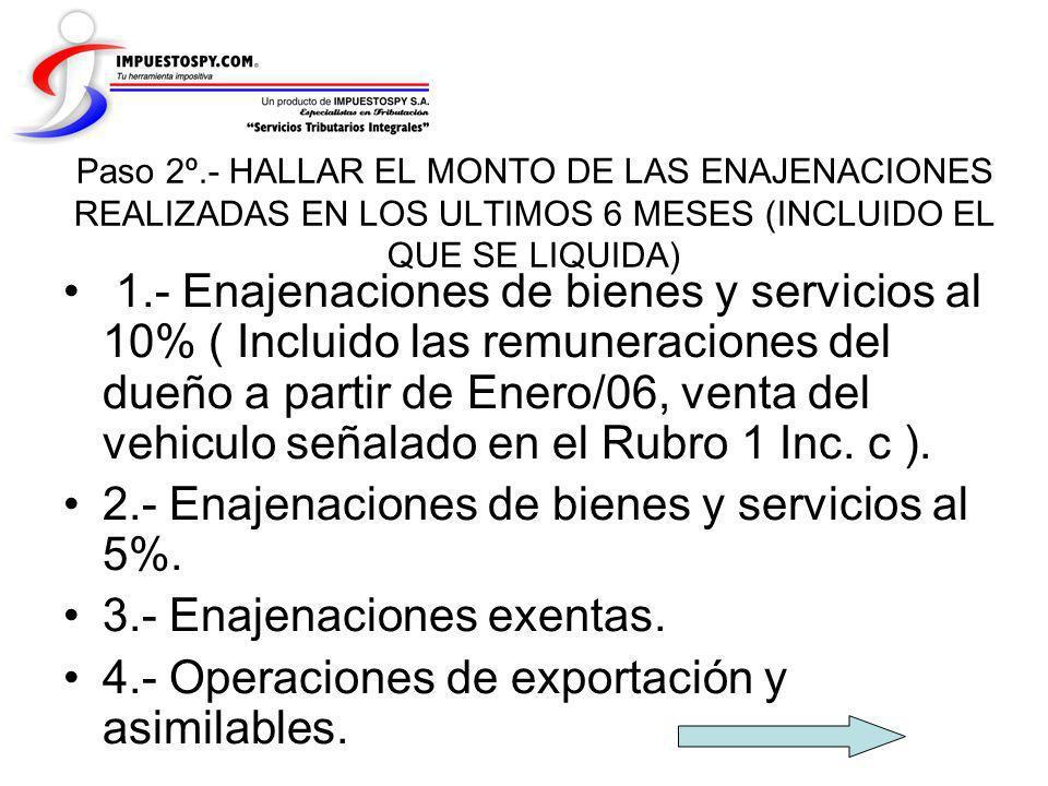 Paso 2º.- HALLAR EL MONTO DE LAS ENAJENACIONES REALIZADAS EN LOS ULTIMOS 6 MESES (INCLUIDO EL QUE SE LIQUIDA) 1.- Enajenaciones de bienes y servicios