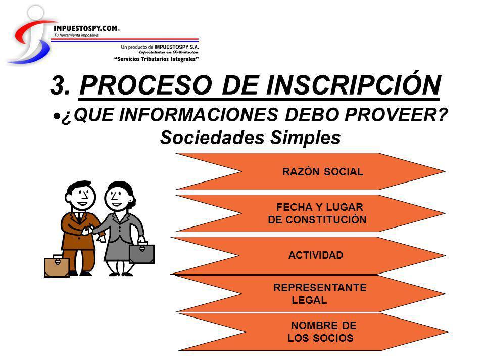 ¿QUE INFORMACIONES DEBO PROVEER? Sociedades Simples 3. PROCESO DE INSCRIPCIÓN RAZÓN SOCIAL FECHA Y LUGAR DE CONSTITUCIÓN ACTIVIDAD REPRESENTANTE LEGAL