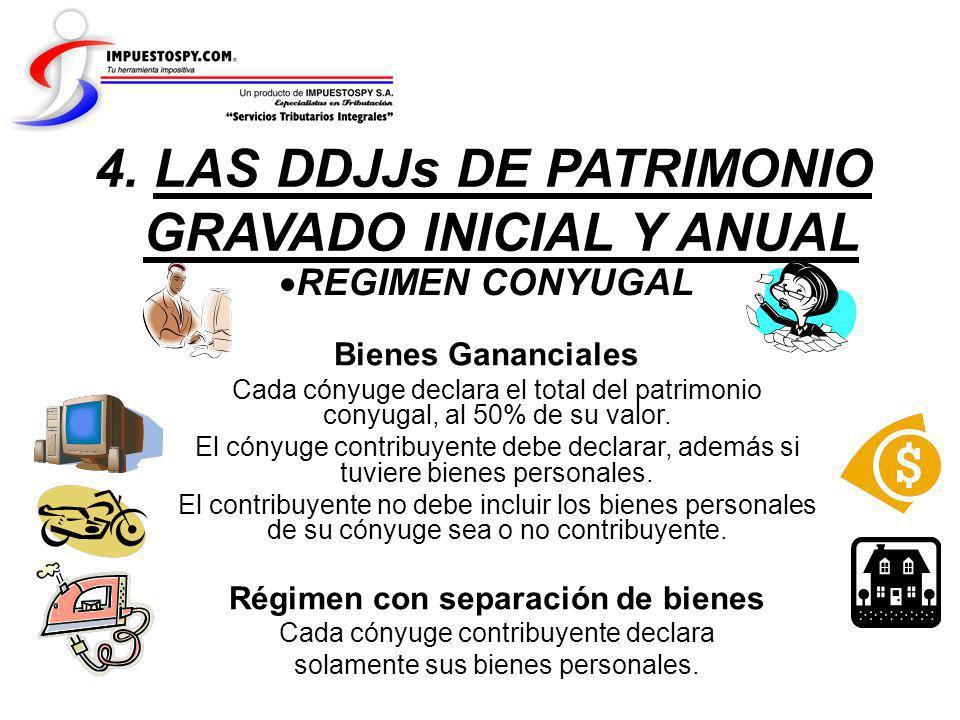 REGIMEN CONYUGAL 4. LAS DDJJs DE PATRIMONIO GRAVADO INICIAL Y ANUAL Bienes Gananciales Cada cónyuge declara el total del patrimonio conyugal, al 50% d