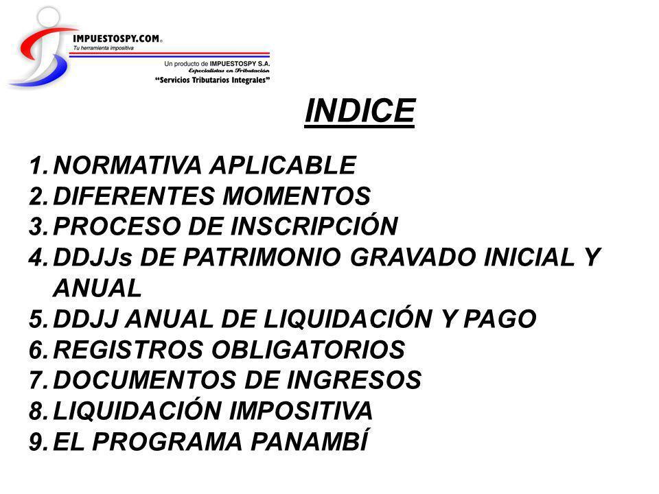 INDICE 1.NORMATIVA APLICABLE 2.DIFERENTES MOMENTOS 3.PROCESO DE INSCRIPCIÓN 4.DDJJs DE PATRIMONIO GRAVADO INICIAL Y ANUAL 5.DDJJ ANUAL DE LIQUIDACIÓN
