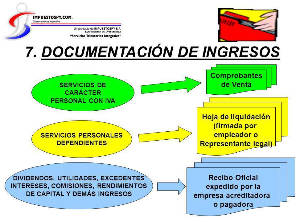 7. DOCUMENTACIÓN DE INGRESOS SERVICIOS PERSONALES DEPENDIENTES SERVICIOS DE CARÁCTER PERSONAL CON IVA DIVIDENDOS, UTILIDADES, EXCEDENTES INTERESES, CO